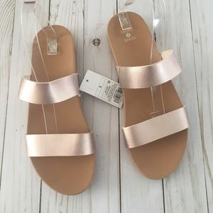 Shade & Shore Rose Gold Two Strap Slide Sandals